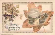 Buy Heary Thanksgiving Greeting Embossed Fall Scene Vintage Postcard