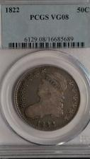 Buy 1822 CAPPED BUST HALF DOLLAR. PCGS GRADED VG-08. LOOKS UNDER GRADED.