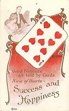 Buy Good Fortunes Success and Happiness 9 of Hearts Embossed Vintage Postcard