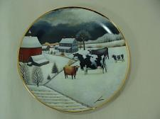 Buy Franklin Mint Cows in Winter American Folk Art Collectilon Cow Plate Ltd Edition