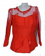 Buy Red Lao Laos Long Sleeve Silk Blouse Lace Classic Neckline Size 36 M BL36L