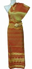 Buy Thai Myanmar Old Gold Silk Fabric For Top Skirt Longyi dress Costume Clothing