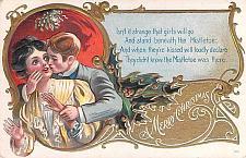 Buy Couple, Romance, Kissing Mistleoe, Merry Christmas Embossed Vintage Postcard