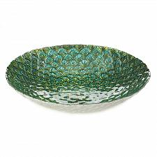 """Buy *18589U - Peacock Feather Inspired Blue Green 15 1/2"""" Decorative Accent Bowl"""