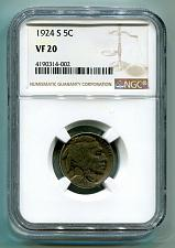 Buy 1924-S BUFFALO NICKEL NGC VF 20 NICE ORIGINAL COIN FROM BOBS COINS FAST SHIPMENT