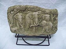 Buy SAND STONE COLLECTIBLE VINTAGE ELEPHANTS WITH STAND