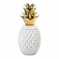 "Buy *18753U - 13"" Gold Topped White Pineapple Jar Decorative Accent"
