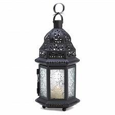 Buy 14118U - Moroccan Style Cutwork Iron Candle Lantern Pressed Glass Panels