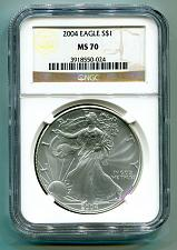 Buy 2004 AMERICAN SILVER EAGLE NGC MS70 BROWN LABEL MS 70 NICE COIN AND SLAB