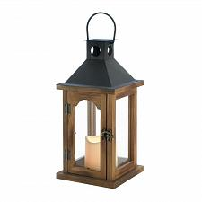 Buy *18496U - Simple Wood Rustic Lantern w/LED Pillar Candle