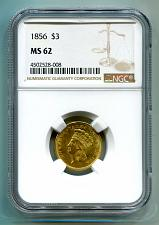 Buy 1856 THREE DOLLAR GOLD PIECE NGC MS 62 NICE ORIGINAL SUPER PREMIUM QUALITY PQ