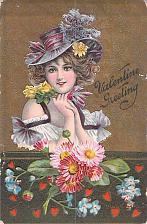 Buy Valentine Greeting Lady with Flowers Embossed Vintage Postcard