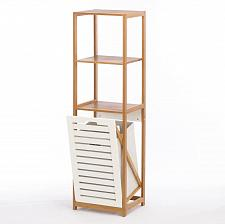 Buy *16086U - Bamboo & MDF Wood Brown/White Hamper 2 Shelf Storage Unit
