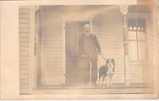 Buy Older Man on Porch Holding His Dog Real Photo RPPC Vintage Postcard