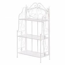 Buy *17509U - White Iron Basket Weave Bakers Rack Shelves