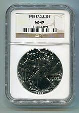 Buy 1988 AMERICAN SILVER EAGLE NGC MS69 BROWN LABEL PREMIUM QUALITY NICE COIN PQ