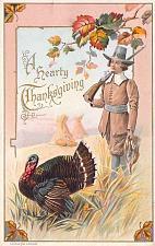 Buy A Hearty ThanksgivingPilgrim with Gun Turkey Embossed Vintage Postcard