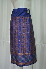 """Buy Blue Lao Laos Synthetic Silk Sinh Skirt for sale Waist can fit to 40"""" SK1"""