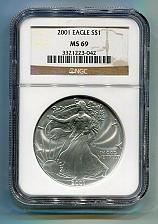 Buy 2001 AMERICAN SILVER EAGLE NGC MS 69 BROWN LABEL PREMIUM QUALITY MS69 PQ