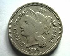 Buy 1866 THREE CENT NICKEL VERY FINE VF NICE ORIGINAL COIN FROM BOBS COINS FAST SHIP