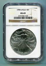 Buy 1998 AMERICAN SILVER EAGLE NGC MS69 BROWN LABEL PREMIUM QUALITY NICE COIN PQ