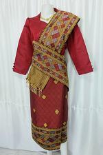 Buy Maroon Lao Laos 3/4 Sleeve Blouse Suea pat siz 14 Synthetic Sinh Skirt Pha Bieng