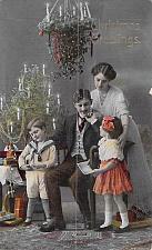 Buy Christmas Greetings Vintage Color Family Photo Postcard