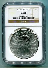 Buy 2001 AMERICAN SILVER EAGLE NGC MS70 BROWN MS 70 NICE COIN AND SLAB BOBS COINS