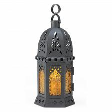Buy 39923U - Moroccan Style Metal Cutout Candle Lantern Yellow Pressed Glass