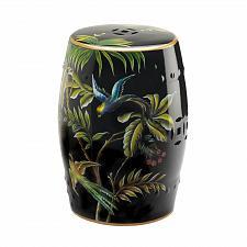 Buy *18685U - Tropical Birds Decorative Black Ceramic Stool Accent Table