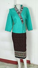 Buy Mint Lao Laos 3/4 Sleeve Blouse size 16 Cotton Sinh Skirt XL For Laos New Year