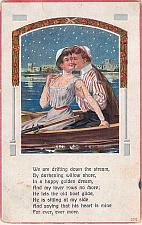Buy Couple In Rowboat with Poem Embossed Vintage Romance Postcard