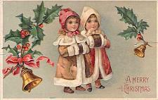 Buy Children, Girls Wishing, A Merry Christmas Embossed Vintage Postcard