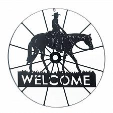 Buy *17314U - Cowboy On Horseback Welcome Wagon Wheel Black Iron Wall Art