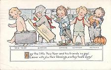 Buy New Years Blessings, Children Dress for Each Season Embossed Vintage Postcard