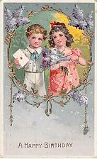 Buy A Happy Birthday (Wishes) Glossy with Gold Embossing Vintage Postcard