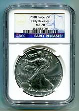 Buy 2018 AMERICAN SILVER EAGLE NGC MS70 CLASSIC EARLY RELEASES BLUE LABEL, AS SHOWN