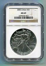 Buy 2005 AMERICAN SILVER EAGLE NGC MS69 BROWN LABEL PREMIUM QUALITY NICE COIN PQ