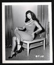 Buy BETTY PAGE BOSOMY STRIPED DRESS LEGGY POSE VINTAGE IRVING KLAW 4X5 BP-118