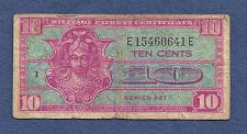 Buy US 10 Cents Series 521 Military Payment Certificate E15460641E -1954 ND M30 Note