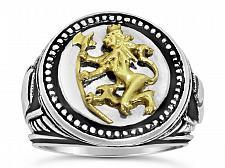 Buy Norse Lion Mens signet Coin ring Bluekorps Nordnaes Battalion Sterling silver