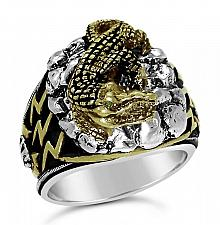 Buy Blue Nile Egyptian Crocodile Mens ring Sterling Silver Emerald Lge.