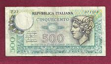 Buy Italy 500 Lire 1976 Mercury Banknote # 971568 - Head of Mercury