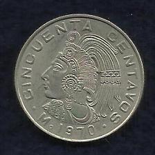 Buy Mexico Mexican 50 Centavos 1970 Cuauhtemoc Coin