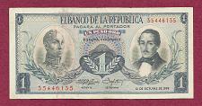 Buy COLUMBIA 1 Peso Oro 1959 Banknote 35446135 -S Bolivar/Gen Santador - UNC Crisp Note!