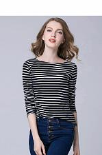 Buy Autumn Winter T-shirts For Women Classic Stirped Cotton T Shirt Woman Plus Size