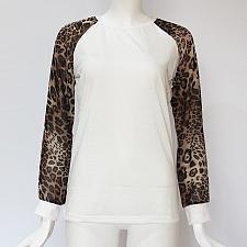 Buy Women T Shirt Fashion Leopard Print Patchwork T-shirt Casual Long Sleeve Women Tops