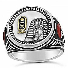 Buy Tuthmosis III Sterling Silver Egypt coin ring 10k cartouche