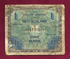 Buy GERMANY 1 Mark 1944 BanknoteNo. 096759179 - WWII Allied Military Currency