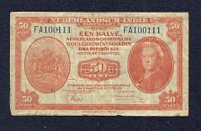 Buy NETHERLANDS INDIES 50 Cent 1943 Banknote FA100111 – P110 Scarce Note WWII Currency